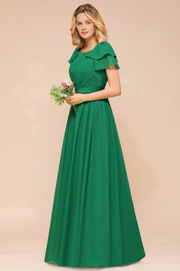 Emerald Short Sleeves Chiffon Ruffles Long Bridesmaid Dresses Online_5