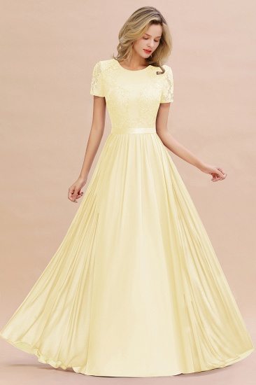 Elegant Chiffon Lace Jewel Short-Sleeves Affordable Bridesmaid Dress_18