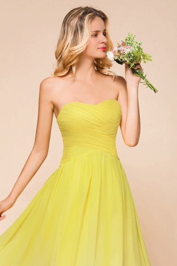 Fashionable Sweetheart Ruffle Yellow Ombre Bridesmaid Dress_9