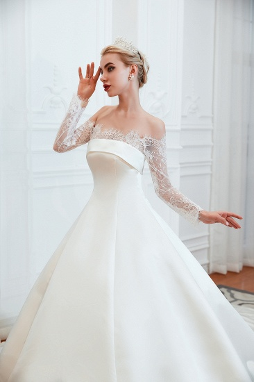 BMbridal Long Sleeve Off-the-Shoulder Satin Wedding Dress With Lace_11