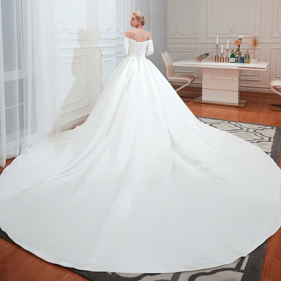 BMbridal Elegant 3/4 Sleeves Princess Satin Wedding Dress Online_5