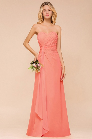 Stylish Sweetheart Ruffle Affordable Coral Chiffon Bridesmaid Dresses Online_1