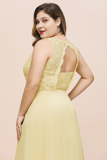 BMbridal Plus Size Lace Sleeveless Affordable Daffodil Bridesmaid Dress_9