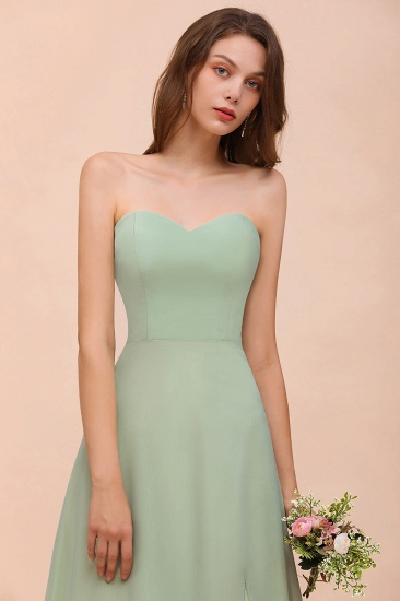 Affordable Strapless Front Slit Long Dusty Sage Bridesmaid Dress_9