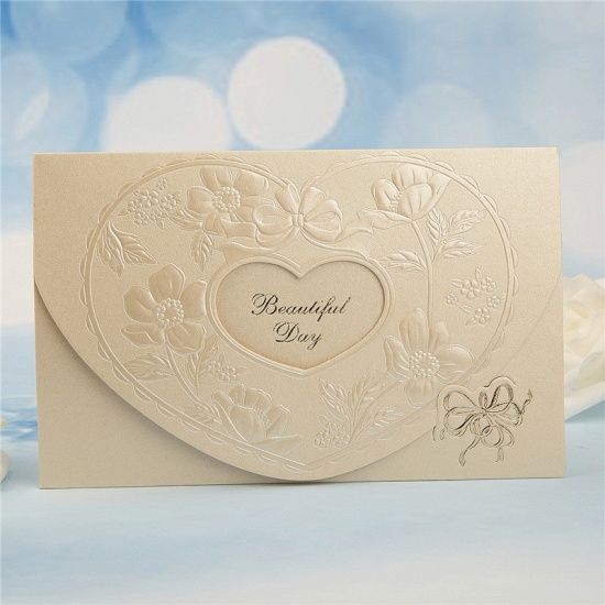 BMbridal Popular Tri-Fold Hollow Heart Style Invitation Cards (Set of 50)_2