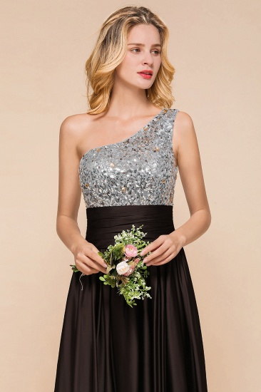 Affordable One Shoulder Sequins Long Bridesmaid Dresses with Ruffle_7