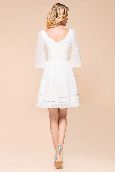Chic V-Neck 3/4 Sleeves Short White Bridesmaid Dress with Sequins_3