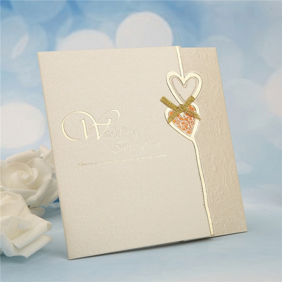 BMbridal Modern Tri-Fold Heart Bowknot Invitation Cards (Set of 50)_3