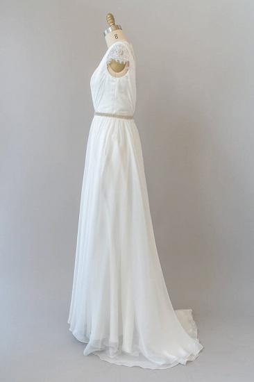 BMbridal Cap Sleeve V-neck Lace Chiffon Sheath Wedding Dress Online_4