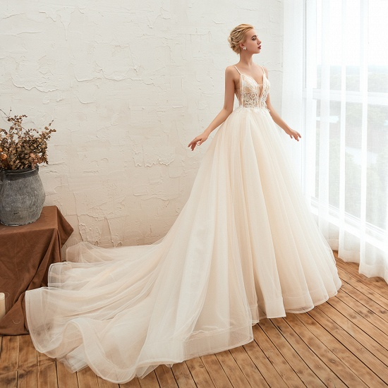 BMbridal Elegant Spaghetti-Starps Tulle Wedding Dress With Appliques_6