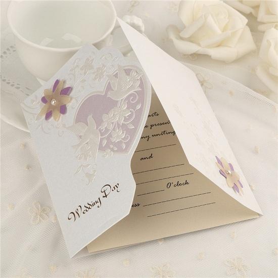 Classic Side-Fold Heart Imprint Invitation Cards (Set of 50)_3