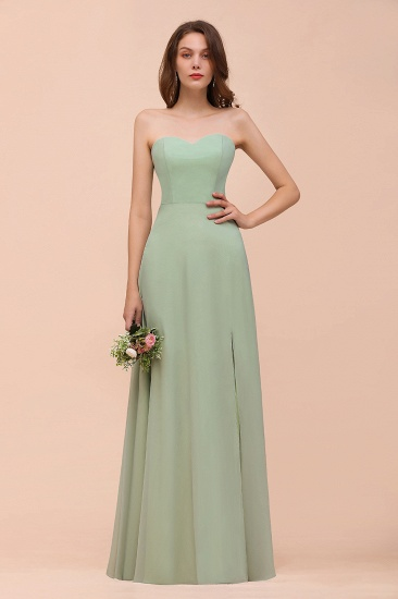 Affordable Strapless Front Slit Long Dusty Sage Bridesmaid Dress_1