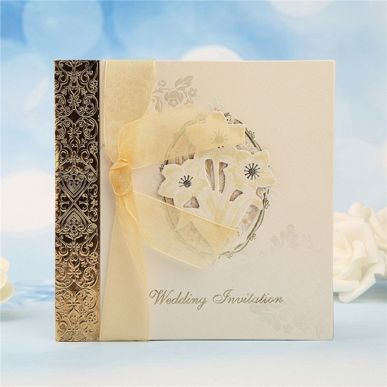 Classic Side-Fold Bowknot Style Hollow Invitation Cards (Set of 50)_9