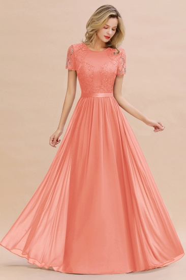 Elegant Chiffon Lace Jewel Short-Sleeves Affordable Bridesmaid Dress_45