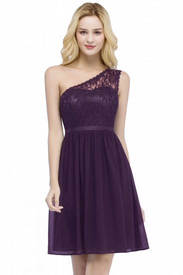 Cheap A-line Chiffon One-shoulder Lace Top Short Bridesmaid Dresses In Stock_2