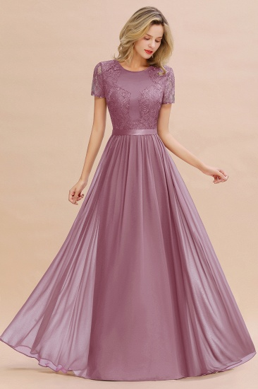Elegant Chiffon Lace Jewel Short-Sleeves Affordable Bridesmaid Dress_43