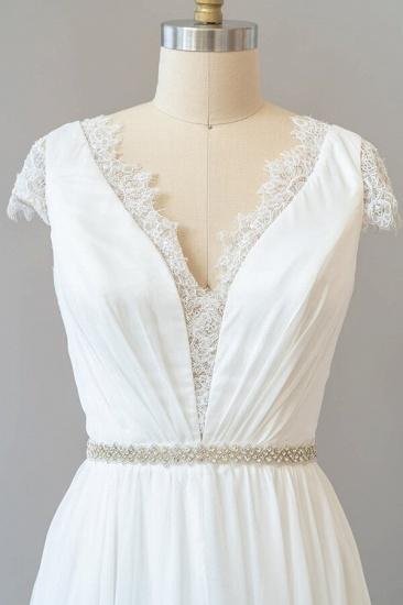 BMbridal Cap Sleeve V-neck Lace Chiffon Sheath Wedding Dress Online_5