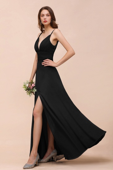BMbridal Deep V Neck Spaghetti Straps Slit Long Black Bridesmaid Dress_7