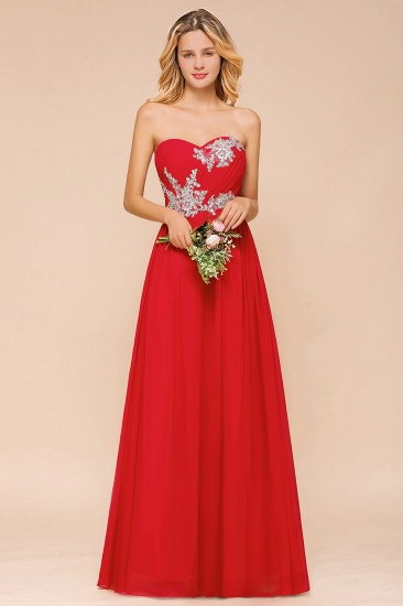 Exuqisite Appliques Sweetheart Ruffle Bridesmaid Dress
