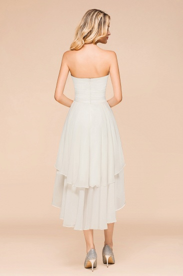 Affordable Hi-Lo Layer Ruffle Ivory Short Bridesmaid Dress with Flower_3