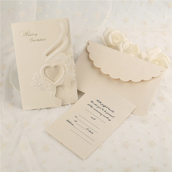 Classic Tri-Fold Heart Hollow Style Invitation Cards (Set of 50)_1