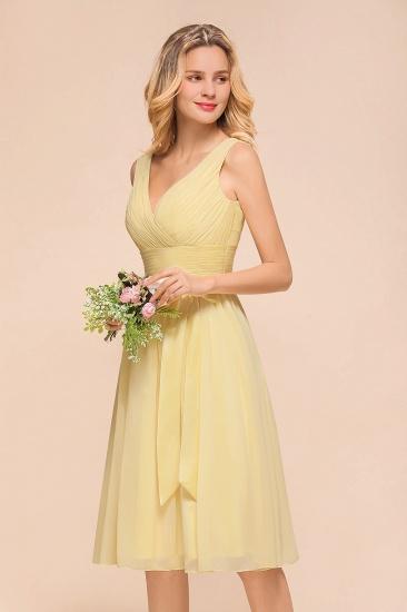 BMbridal Affordable V-Neck Daffodil Chiffon Short Bridesmaid Dress with Ruffle_9
