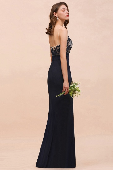 Chic Mermaid Chiffon Lace Cheap Bridesmaid Dress with Spaghetti Straps_6