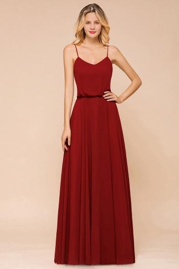 BMbridal Rust Spaghetti-Starps Long Chiffon Bridesmaid Dresses Online_4