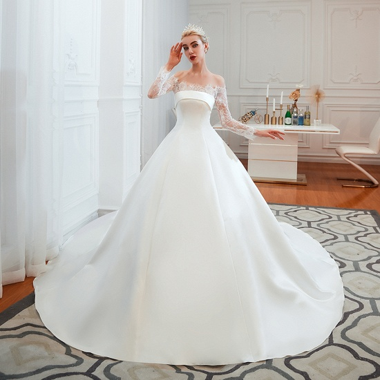 BMbridal Long Sleeve Off-the-Shoulder Satin Wedding Dress With Lace_6