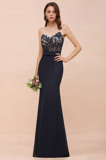 Mermaid Spaghetti Straps Lace Long Bridesmaid Dress