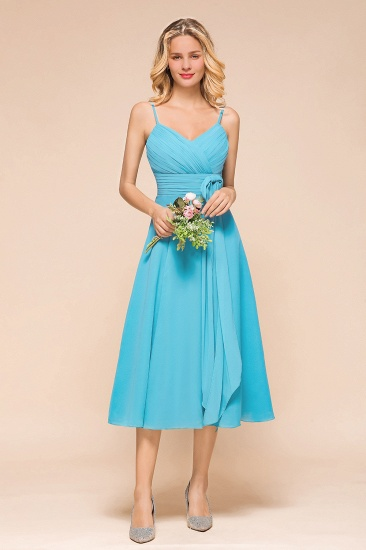 Pool Spaghetti Straps Ruffle Tea-Length Bridesmaid Dress