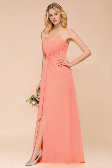 Stylish Sweetheart Ruffle Affordable Coral Chiffon Bridesmaid Dresses Online_8