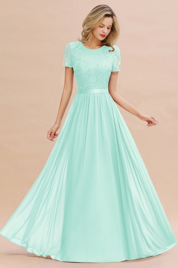 Elegant Chiffon Lace Jewel Short-Sleeves Affordable Bridesmaid Dress_36