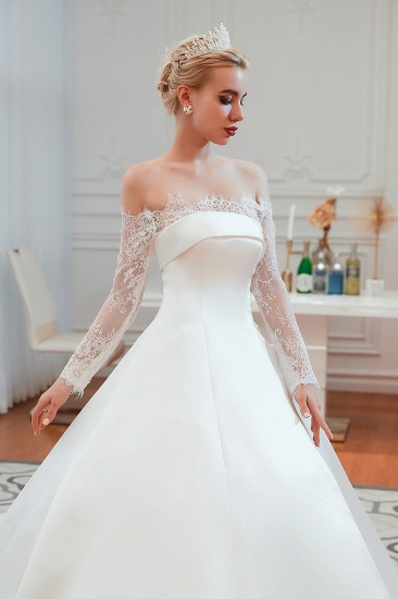 BMbridal Long Sleeve Off-the-Shoulder Satin Wedding Dress With Lace_8