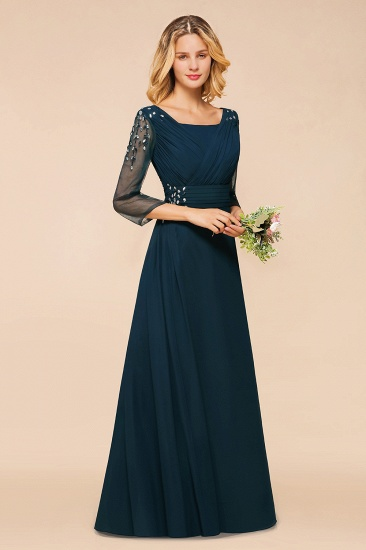 BMbridal Elegant 3/4 Sleeves Ruffle Navy Chiffon Bridesmaid Dresses with Beadings_8