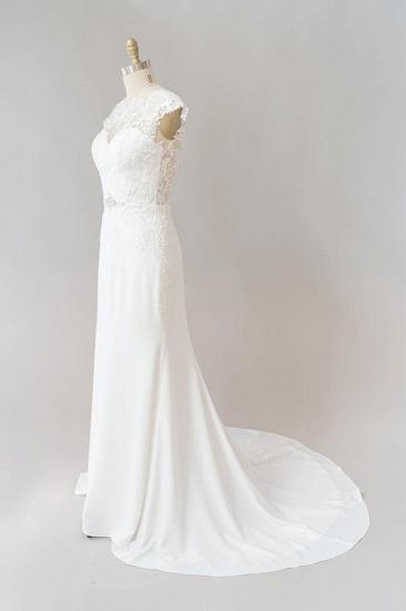 BMbridal Cap Sleeve Illusion Lace Sheath Wedding Dress On Sale_4
