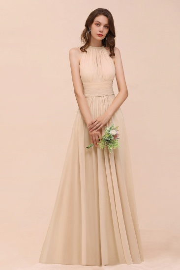 Elegant Chiffon Jewel Ruffle Champagne Affordable Bridesmaid Dress Online_54