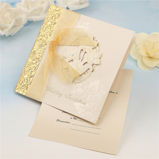Classic Side-Fold Bowknot Style Hollow Invitation Cards (Set of 50)_4