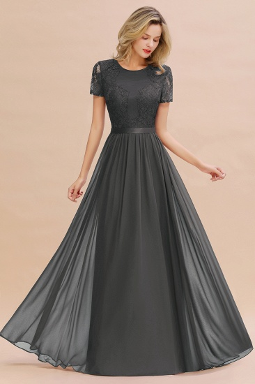 Elegant Chiffon Lace Jewel Short-Sleeves Affordable Bridesmaid Dress_46