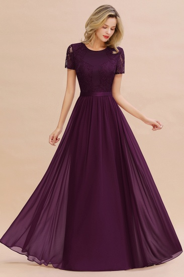 Elegant Chiffon Lace Jewel Short-Sleeves Affordable Bridesmaid Dress_20