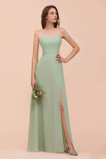 Affordable Strapless Front Slit Long Dusty Sage Bridesmaid Dress_5