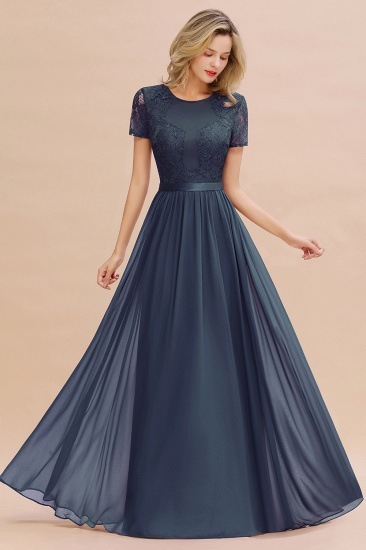 Elegant Chiffon Lace Jewel Short-Sleeves Affordable Bridesmaid Dress_39