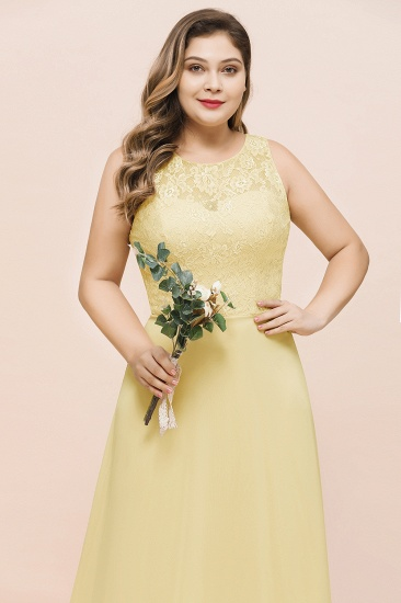 Plus Size Lace Sleeveless Affordable Daffodil Bridesmaid Dress_7