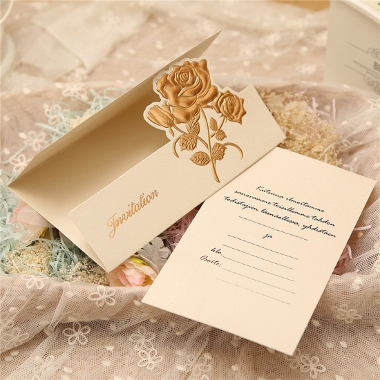 Classic Tri-Fold Flower Style Invitation Cards (Set of 50)_6