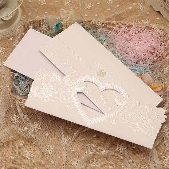 Classics Tri-Fold Hollow Heart Style Invitation Cards (Set of 50)