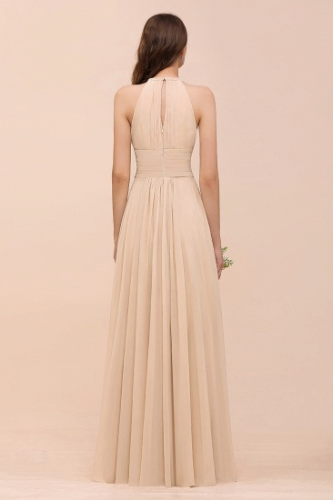 Elegant Chiffon Jewel Ruffle Champagne Affordable Bridesmaid Dress Online_52