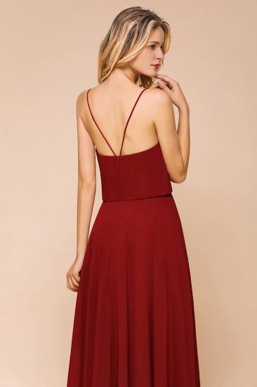 BMbridal Rust Spaghetti-Starps Long Chiffon Bridesmaid Dresses Online_8