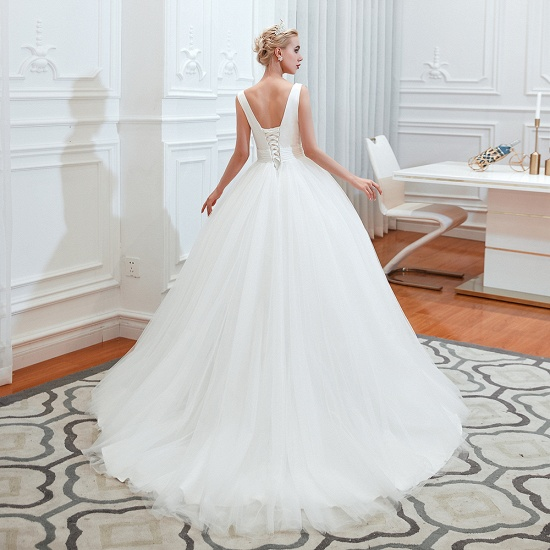 Elegant V-Neck Sleeveless Tulle Wedding Dresses Online_6