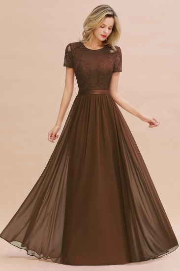 Elegant Chiffon Lace Jewel Short-Sleeves Affordable Bridesmaid Dress_12