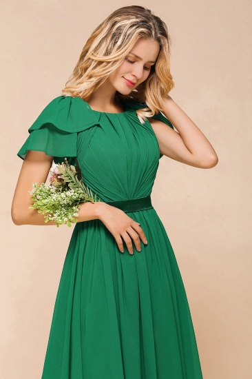 Emerald Short Sleeves Chiffon Ruffles Long Bridesmaid Dresses Online_8